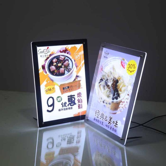 LED acryl display verlichte tafelstandaard  - POSTERLIJST LED VERLICHT op de toonbank