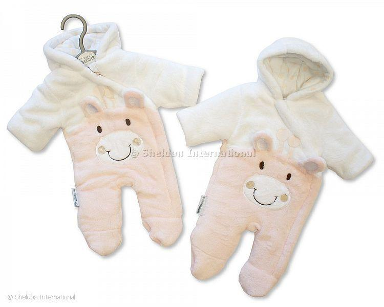 Baby Padded Snowsuit Pramsuit - Giraffe - Pink -