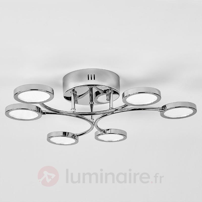 Plafonnier chromé LED Betika, à 6 lampes - Plafonniers LED