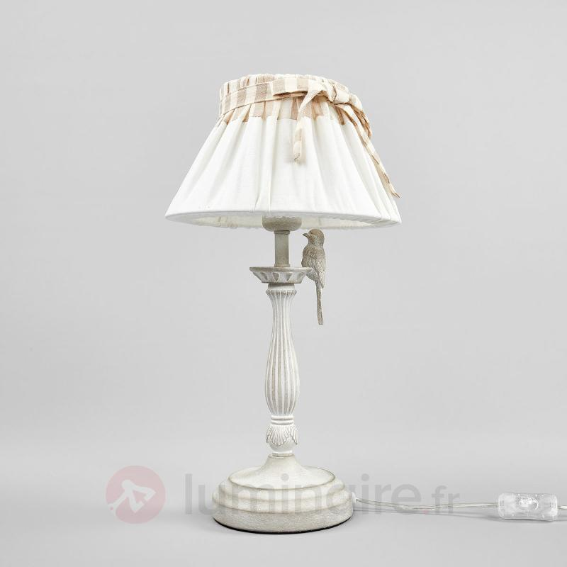 Lampe à poser Bird avec oiseau métallique - Lampes à poser en tissu