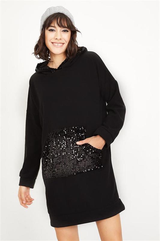 Women's Black Sequin Detail Hooded Sweatshirts - Tunic