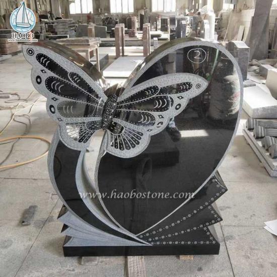 India Black Monument Butterfly Gravestone Headstone - Headstone