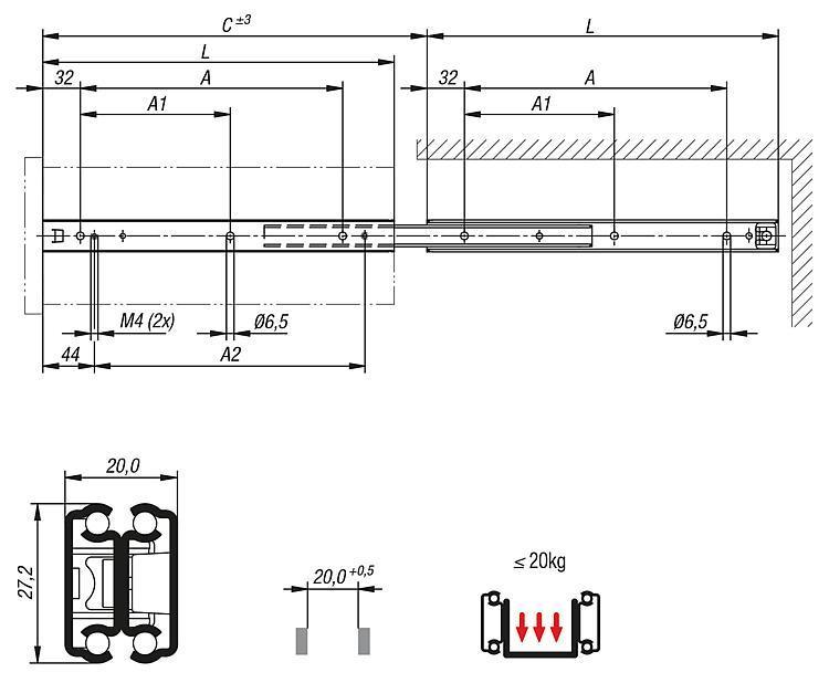 Guide telescopiche estensione extra, capacit di carico... - K0777