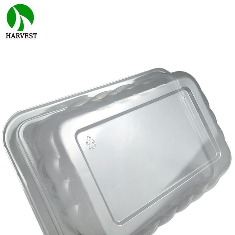32 Ounce Eco Transparent Rectangle Pet Salad Container With Plastic Food Tray - Salad Containers