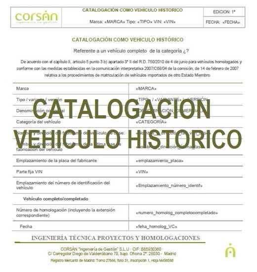 Catalogación como Vehículo Histórico
