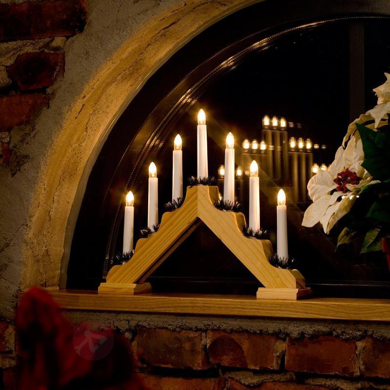 Chandelier LED en bois clair à 7 lampes - Arcs lumineux de Noël