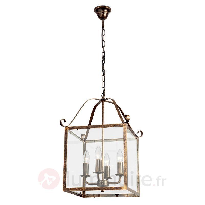 Magnifique suspension FALOTTA carrée, à 4 lampes - Suspensions rustiques