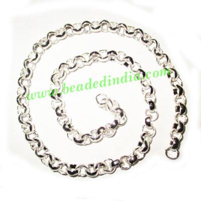 Silver Plated Metal Chain, size: 2x6mm, approx 19.3 meters i - Silver Plated Metal Chain, size: 2x6mm, approx 19.3 meters in a Kg.