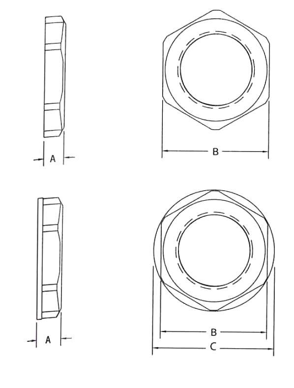 NH345 - NH348 Contre-écrou - Presse-étoupes