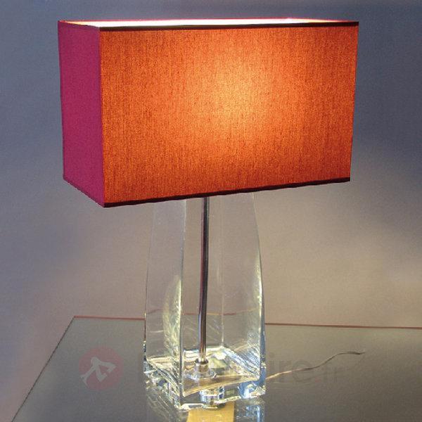 Lampe à poser JENNIFER rouge et verre transparent - Lampes à poser en tissu