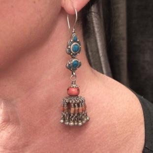 Boucles d'oreilles - Argent, coraux, turquoises, Tibet