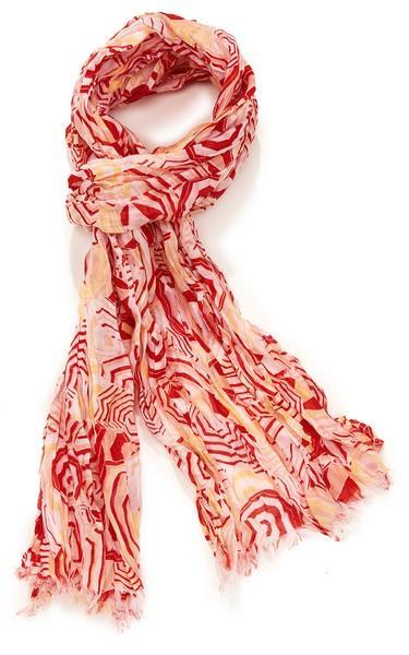 Echarpe coton soie imp parasol - col 2 - rouge