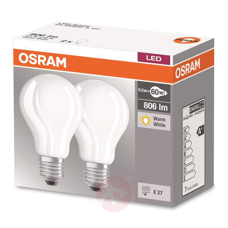 E27 7.2 W 827 LED bulb, set of two, matt - light-bulbs