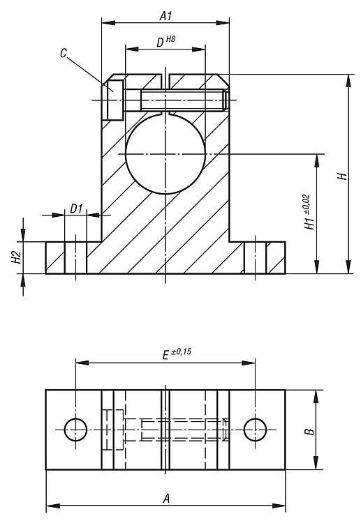Support d'arbre standard - Système de guidage linéaire