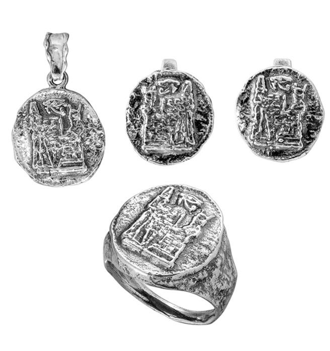 Sterling Silver Set with Ancient Egyptian Drawings  - Sterling Silver set Handmade in Israel for Wholesale and Retail order