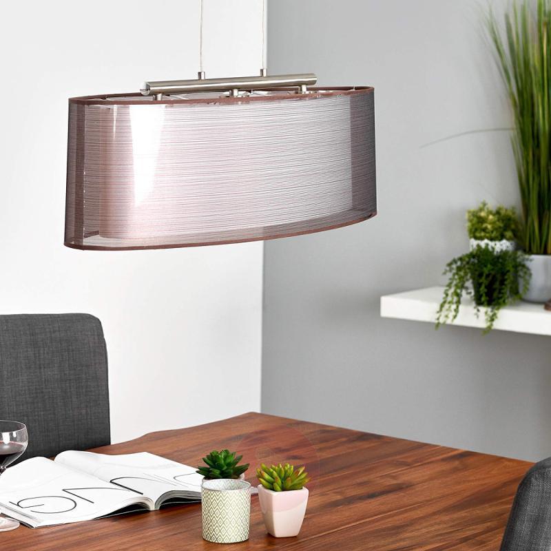 Oval Nica fabric pendant light, brown - indoor-lighting