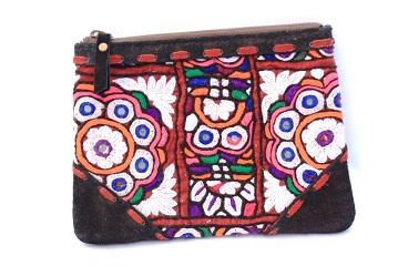 Indian Real Hand Embroidery leather pouch -