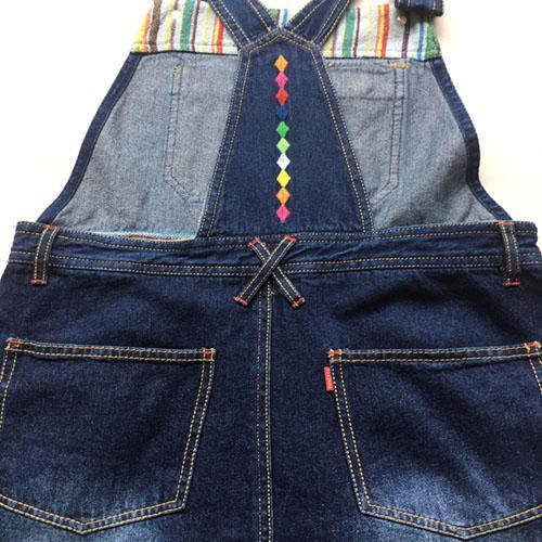 Falda de liga de mezclilla - Vestido azul marino stonewashed del dril de algodón