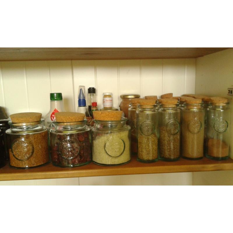 6 bocaux 250 ml en verre avec bouchon en liège - Pots et bocaux Ronds