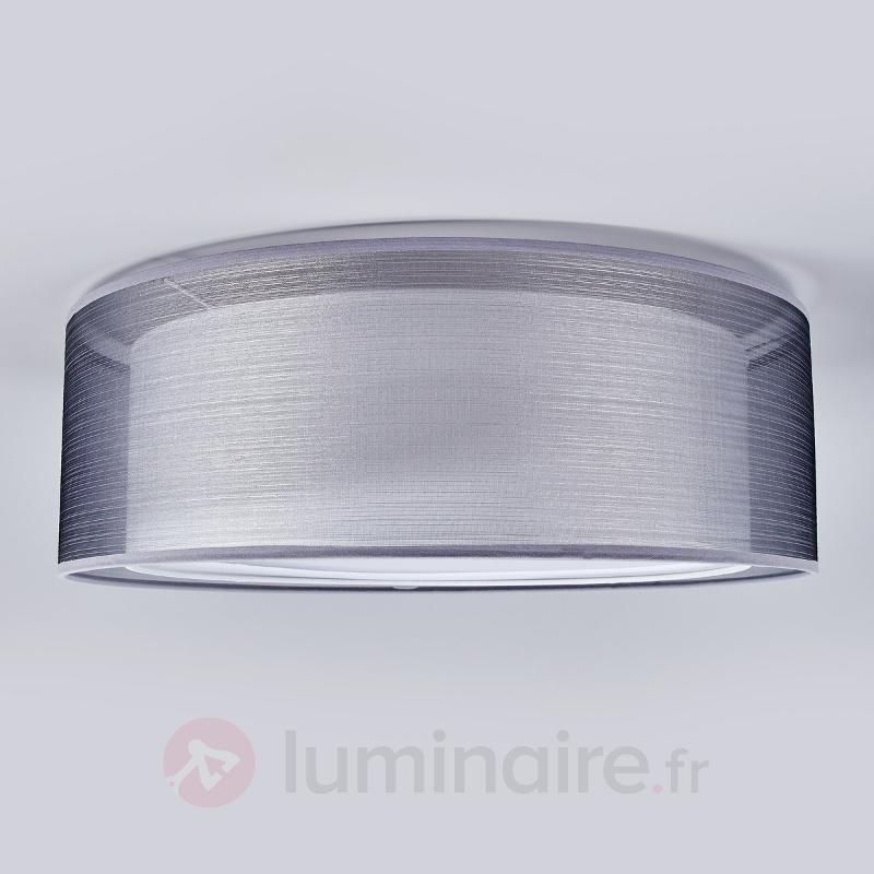 Plafonnier Nica, double abat-jour en tissu gris - Plafonniers en tissu