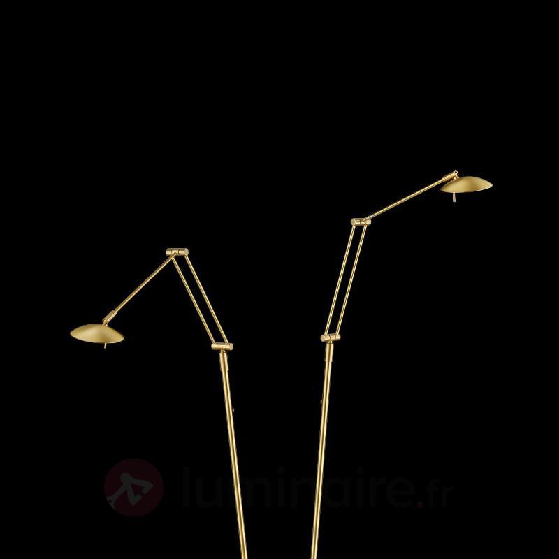 Lampadaire LED à 2 lampes Tija aspect laiton - Lampadaires LED
