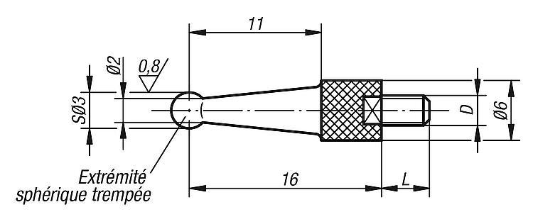 Touche à bout sphérique dégagé - Eléments pour montage de contrôle