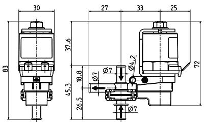 Electrovanne à levier, DN 4, voies 3/2 - 47.00x.103