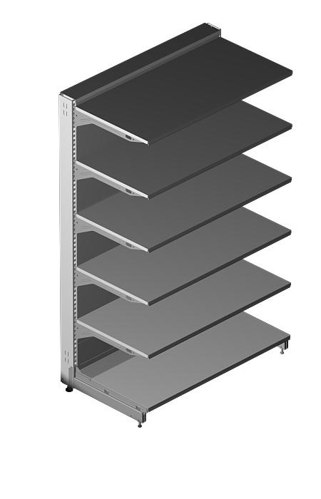 "Modular shop rack systems & instore interior shelving design - System ""upright pitch 25mm"""