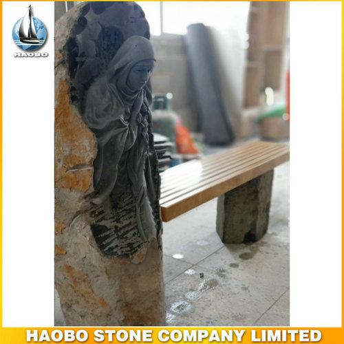 Impressive Carved Mary Bench Headstone With Basalt Stone - Discover this Carved Mary Bench Headstone made in basalt stone by Habo stone.