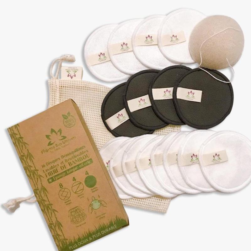 16 Disques Démaquillants Lavables Et Réutilisables Fibre De Bambou + Eponge - null