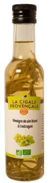 Vinaigre de Vin Vieux Blanc Biologique à l'Estragon ( branches)  - 6 % d'acidité La Cigale provençale