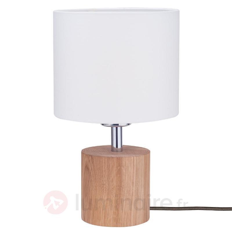 Lampe à poser Trongo chêne huilé abat-jour blanc - Lampes à poser en bois
