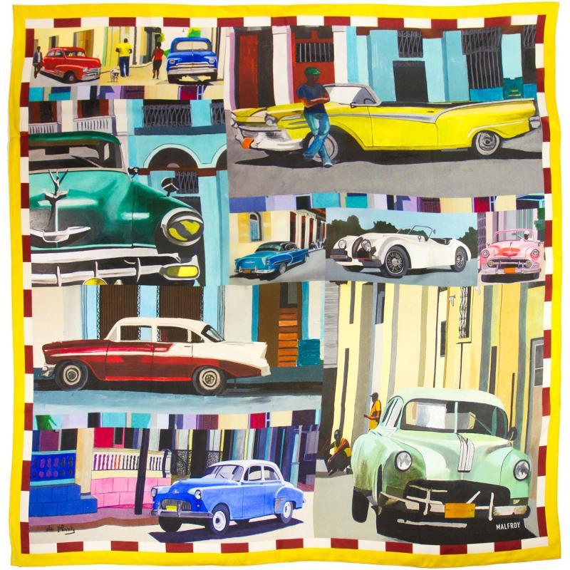Châle En Pongé De Soie Imprimé Ruelles Cubaines De L'artiste Anne Du Planty - HIVER 21-22