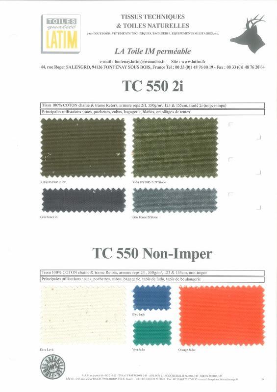 TC 550 2i & TC 550 Non-Imper - Toiles naturelles