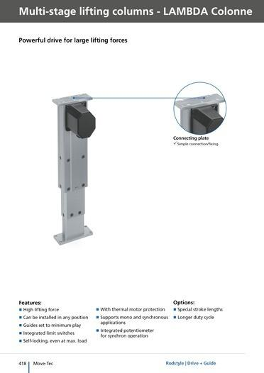 Lambda Colonne - multi-stage lifting columns for over 500 mm travel