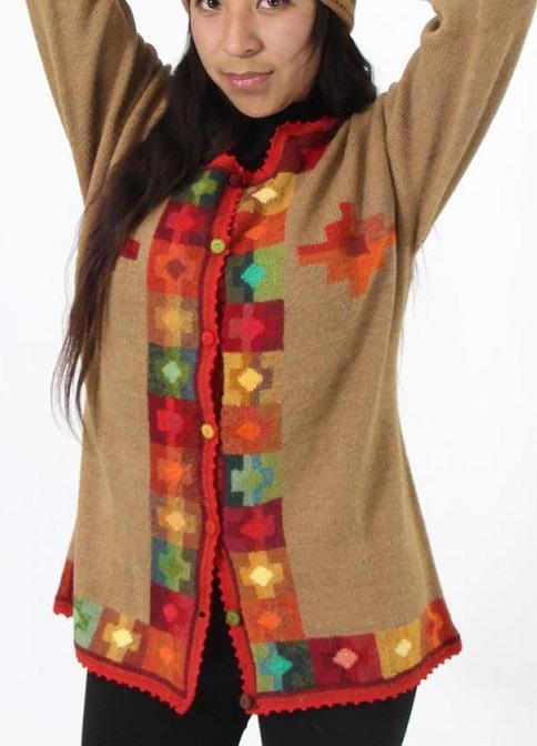 saco Nilda - Saco. tejido a  mano de hilo de alpaca superfina multicolor