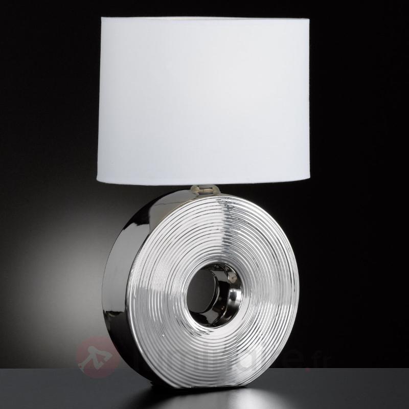Lampe à poser Eye avec pied argenté, hauteur 54 cm - Lampes à poser en tissu