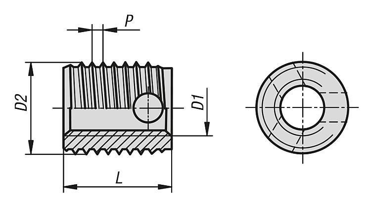 Inserts filetés autotaraudants avec trous de coupe - Vis dynamométriques et inserts taraudés