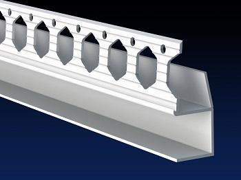 Renderplas PVC shadow gap 'U' profile - PVC beads for dry lining / drywall applications