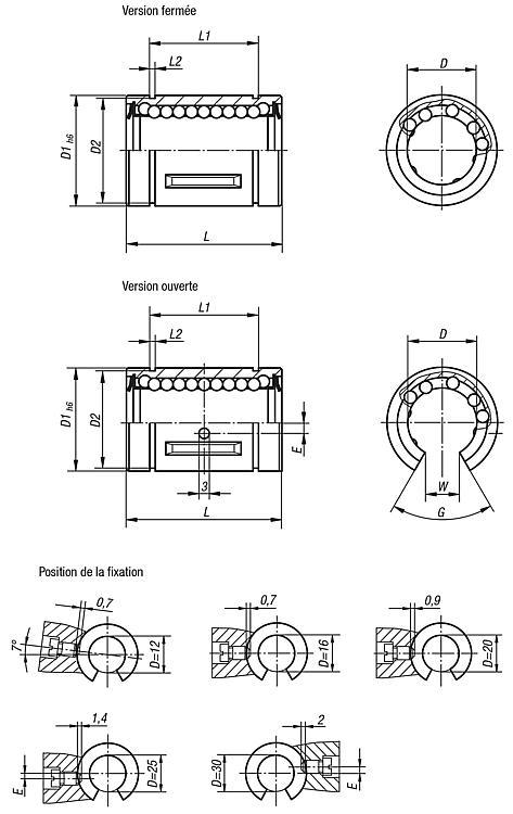 Palier linéaire à billes avec cage en acier - Palier linéaire à billes