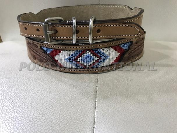 Leather dog collar - Hand embroidery leather dog collar