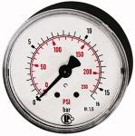 Standard pressure gauge, rear centric, G 1/8, 0 - 25... - Standard pressure gauge, connection on rear, centrical