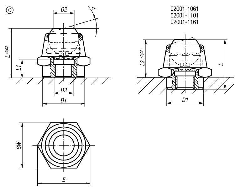 Support à bille oscillante, angle d'inclinaison 14° et 20° - Éléments d'appui et de support