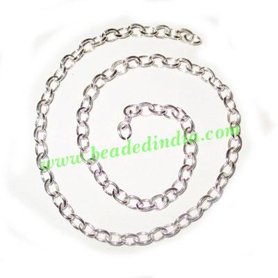 Silver Plated Metal Chain, size: 1x4mm, approx 54.6 meters i - Silver Plated Metal Chain, size: 1x4mm, approx 54.6 meters in a Kg.
