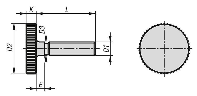 Vis striée basse en acier et Inox, DIN 653 - Poignées et boutons