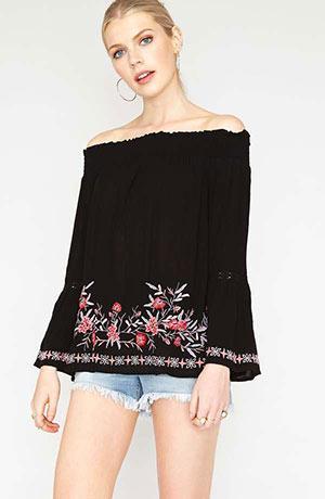 Off shoulder viscose crepe top - 100% viscose crepe embroidered top