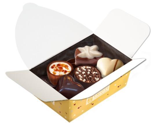 EMOTI Gold Ballotin Assorted Chocolates,  110g. SK -
