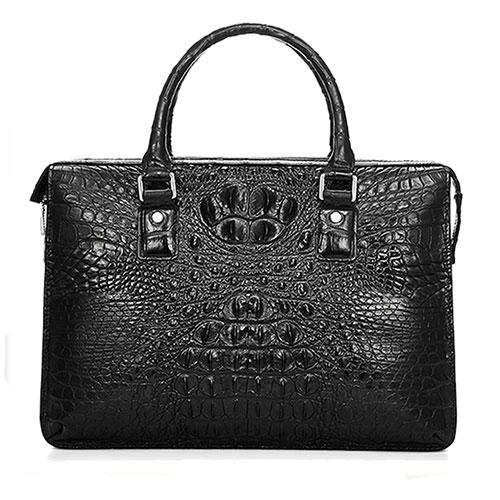 Luxury brifecase men Genuine Crocodile Leather bag black - Bags