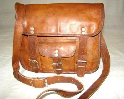 Leather Messenger Bag - Vintage Leather Messenger Bag With Front Pocket