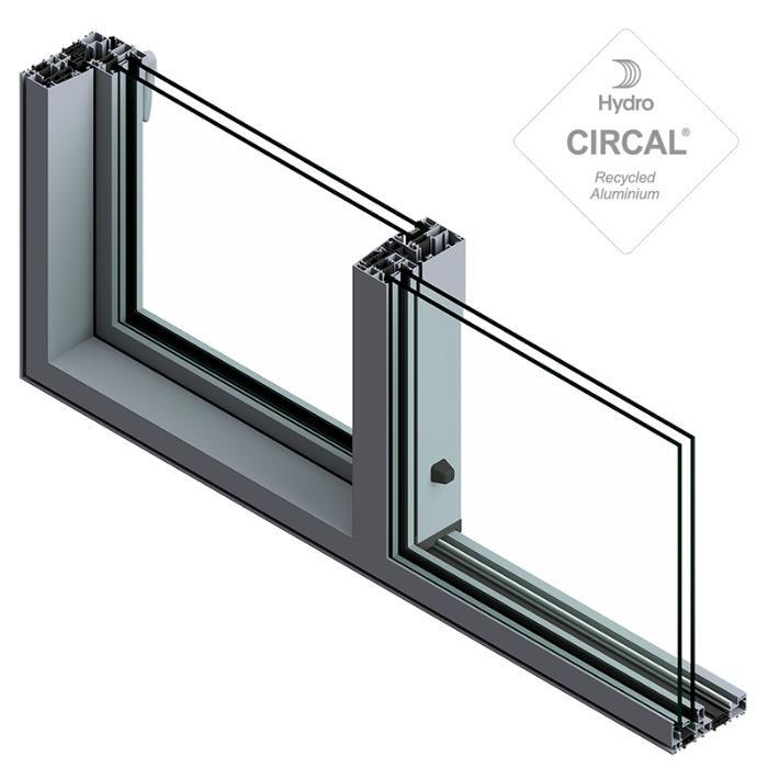 TIGAL - Solución hybrida de aluminio - Practicable deslizante TECHNAL con altura posible de suelo a techo hasta 2,70 m.